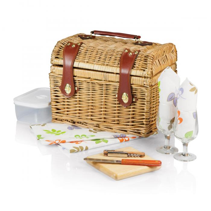 "Picnic Time Napa 11 3/4"" Willow basket w/ wine & cheese service for 2"