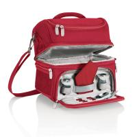 Picnic Time Pranzo Insulated Picnic/Lunch Cooler with Service for One, Red