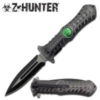 Zombie Hunting Stiletto Style Spring Assisted Open Pocket Knife, Gray