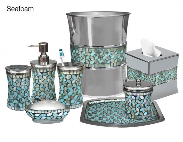 Nu Steel Sea Foam Mosaic Toothbrush Holder