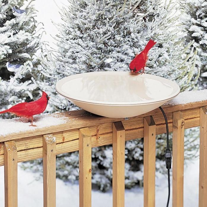"Birds Choice 20"" Heated Birdbath With Deck Mount"