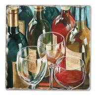 Counter Art Wine Reflections Single Tumbled Tile Coaster