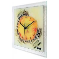 Square Glass Art Clock with Train