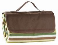 Picnic Gift - Jaja - Fleece Blanket Tote w/ Water Proof Backing Olive Stripe