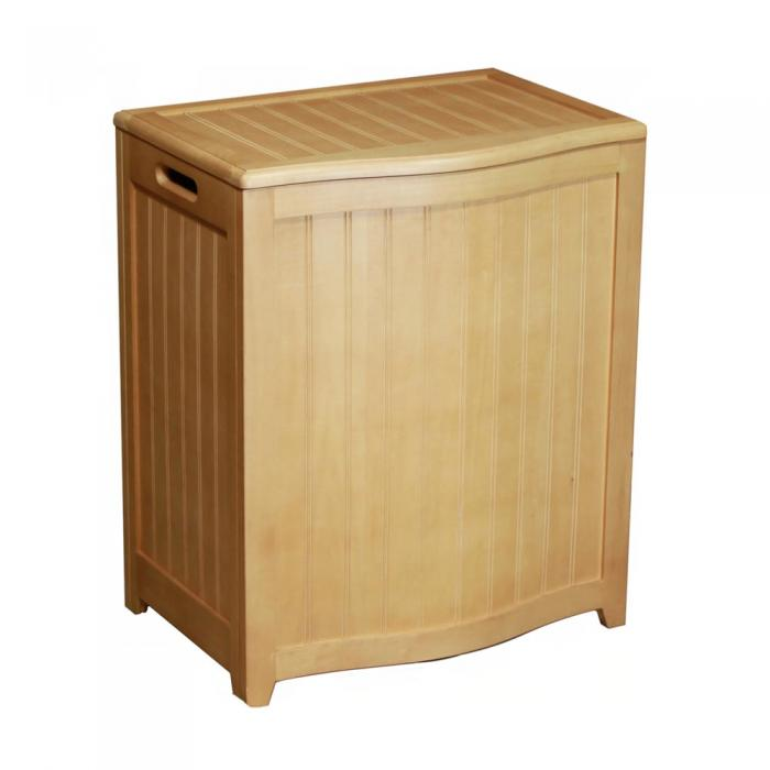 Ocean Star Design Natural Finished Bowed Front Laundry Wood Hamper with Interior Bag BHP0106N