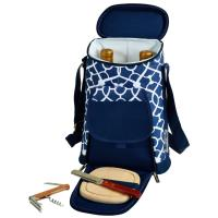 Picnic at Ascot Stylish 2 Bottle Insulated Wine Tote Bag with Cheese Board, Knife and Corkscrew - Trellis Blue