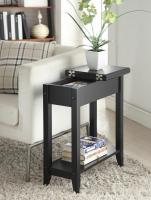 Convenience Concepts  American Heritage Flip Top End Table (Black)