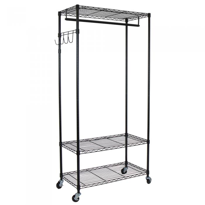 Oceanstar Garment Rack with Adjustable Shelves with Hooks, Black