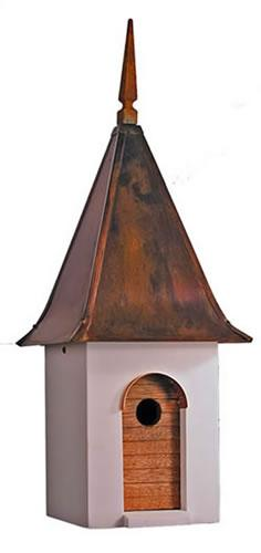 Heartwood French Villa Birdhouse, White with Brown Patina Roof