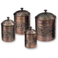 Old Dutch Set of 4 Antique Embossed Canister