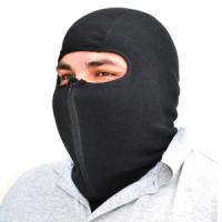 Cold Weather Headwear Balaclava, Microfleece with Zipper, Black