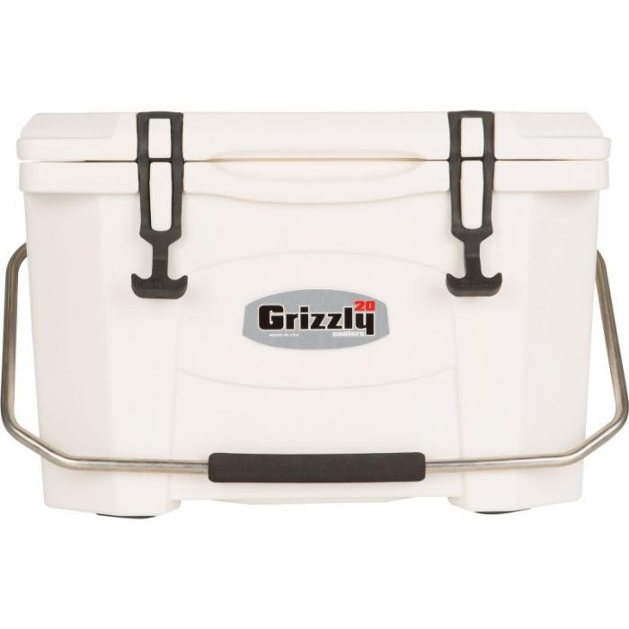 Grizzly 20 Quart RotoMolded Cooler, White