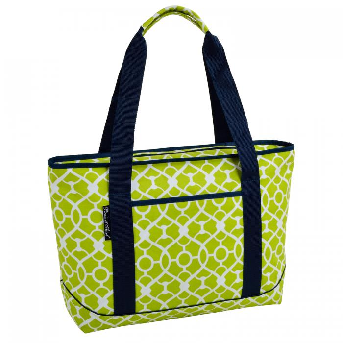 Picnic at Ascot  Large Insulated Cooler Bag - 24 Can Tote - Trellis Green