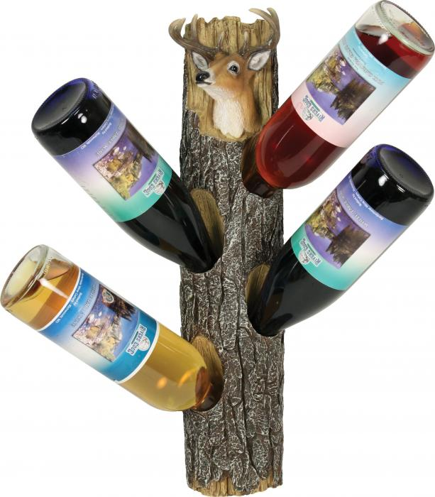 Rivers Edge Products Deer 4 Wine Bottle Holder Wall Mount