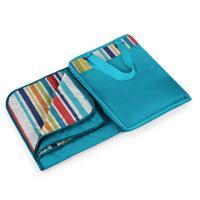 Picnic Time Vista Outdoor Blanket XL - Aqua Blue With Fun Stripes