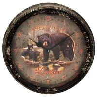 Black Bear Lodge Metal Clock 15""