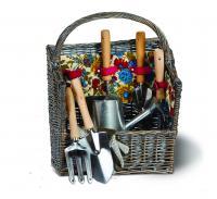 Picnic Plus 8 Piece Garden Tool Willow Basket, Floribunda