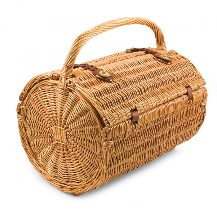 Picnic Time Verona Willow Wicker Shoulder Bag Picnic Basket, Pine Green