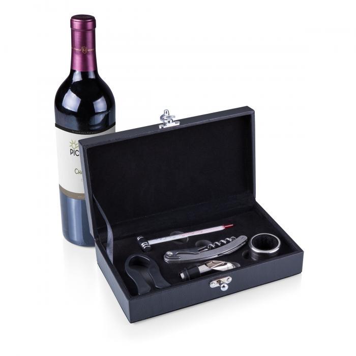 Picnic Time Syrah Black Leather Five-Piece Accessory Box Set