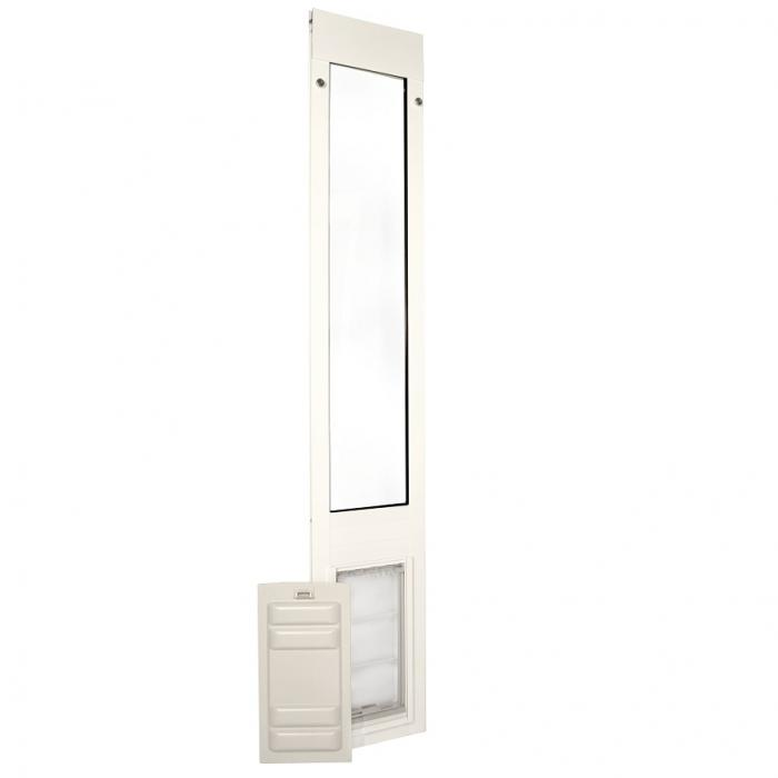 "Endura Flap Pet Door, Thermo Panel 3e, Small Flap, 6""w x 11""h - 93.25-96.25"" Tall, White frame"