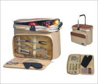 Picnic & Beyond Aluminum Framed Picnic Cooler Basket with BBQ Set