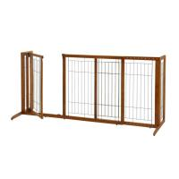 "Richell Deluxe Freestanding Pet Gate with Door Large Brown 61.8 - 90.2"" x 27"" x 36.2"""