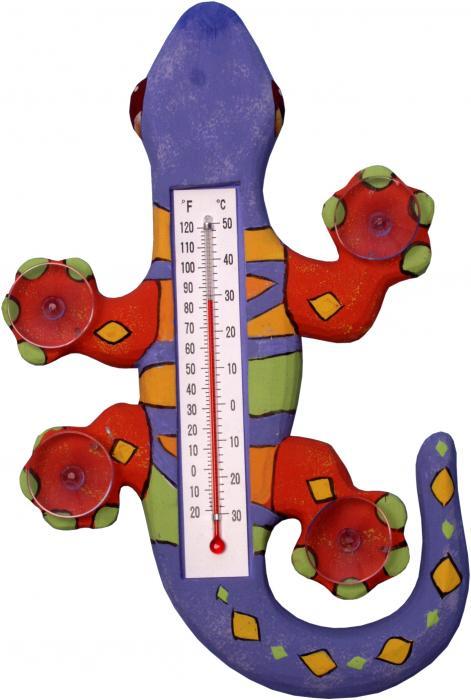 Songbird Essentials Climbing Purple Orange & Green Gecko Large Window Thermometer