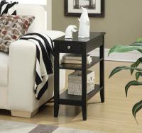 American Heritage Three Tier End Table with Drawer, Black