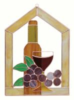Gift Essentials Small Wine Bottle Glass Grapes Scene Steeple Window Panel