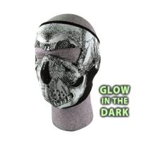Cold Weather Headwear Neoprene Face Mask, Glow in the Dark, Black & White Skull Face