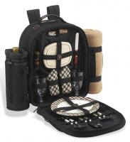 Deluxe Equipped 2 Person Picnic Backpack w/Blanket - London Plaid