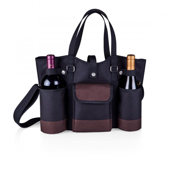 Picnic Time Wine Country Tote (Black with Merlot Trim)