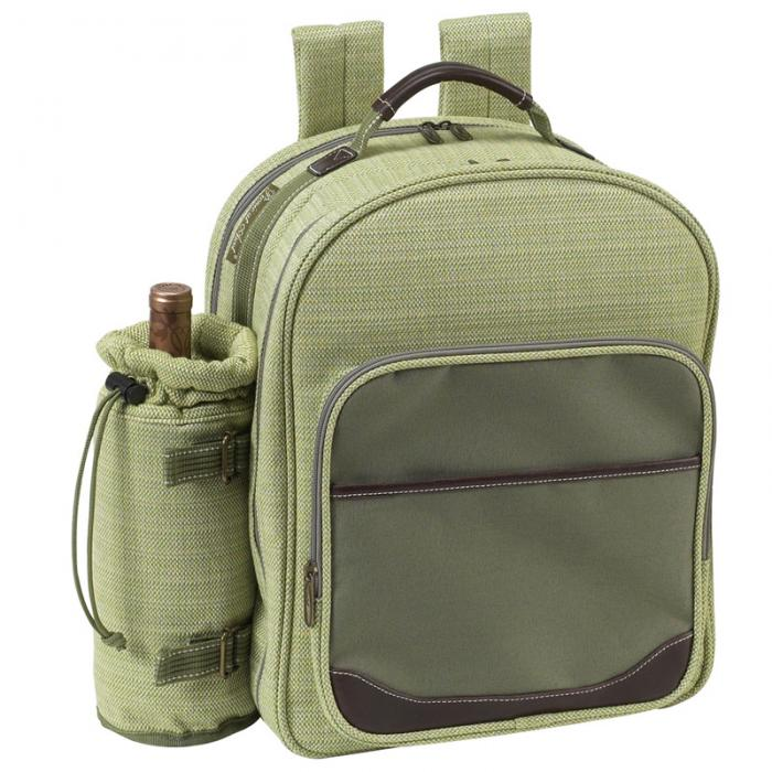 Picnic at Ascot Deluxe Equipped 2 Person Picnic Backpack with Cooler & Insulated Wine Holder - Olive Tweed