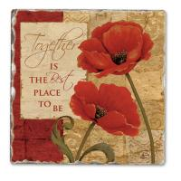 Counter Art Together Single Tumbled Tile Coaster