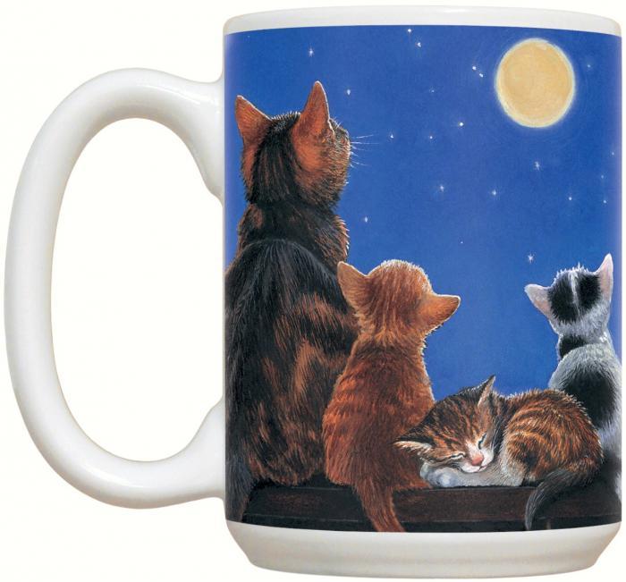 Fiddler's Elbow Cats Under Full Moon 15 oz Mug