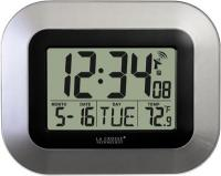 La Crosse Technology Atomic Digital Wall Clock w/ IN Temp & Date - Silver