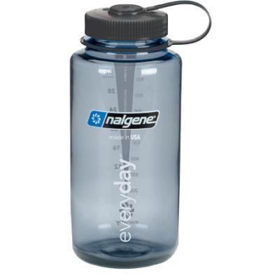 Nalgene Tritan Wide Mouth Water bottle, 1 Qt Grey with Black Lid