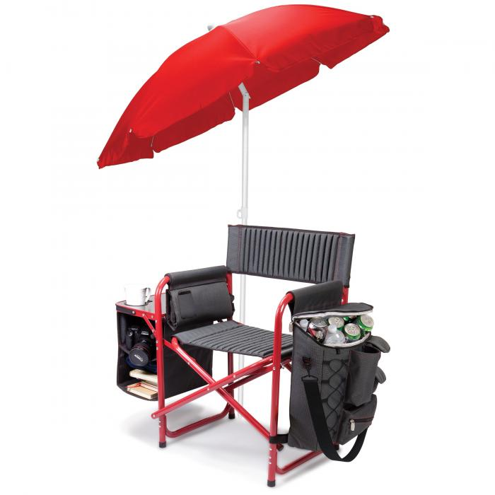 Picnic Time Fusion Chair, Gray with Red