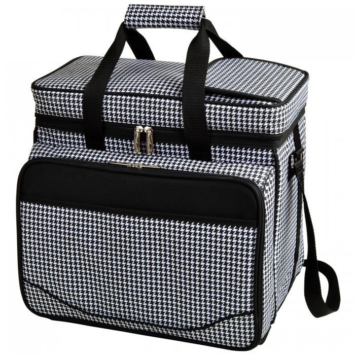 Picnic at Ascot Equipped Insulated Picnic Cooler with Service for 4 - Houndstooth