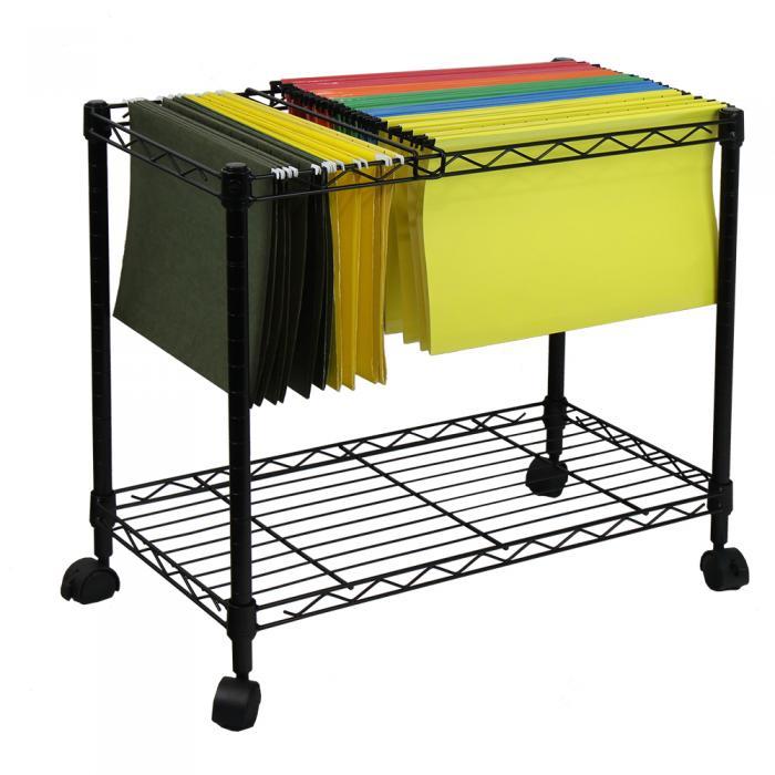 Oceanstar Portable 1-Tier Metal Rolling File Cart, Black