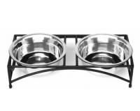 PetsStop Regal Low Rise Double Raised Feeder - Small