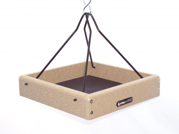 "Birds Choice Recycled 10"" x 10"" Hanging Tray Bird Feeder with Steel Rods"
