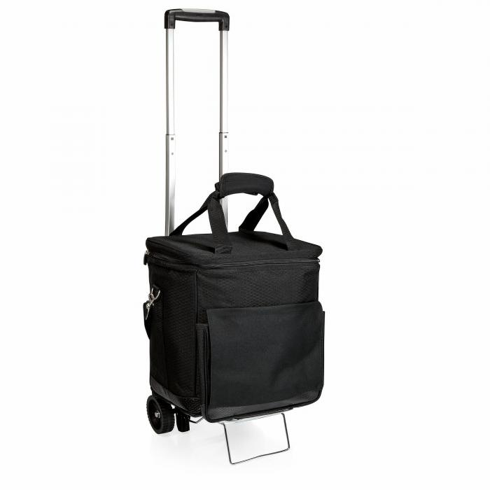 Picnic Time Cellar LEGACY Cellar 6-Bottle Wine Carrier & Cooler Tote with Trolley (Black with Gray Accents)