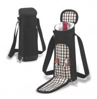Picnic at Ascot  Stylish Single Wine Bottle Tote Bag with Corkscrew and Wine Stopper - London Plaid