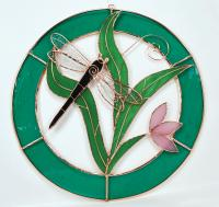 Gift Essentials Large Dragonfly Teal Circle Frame Window Panel