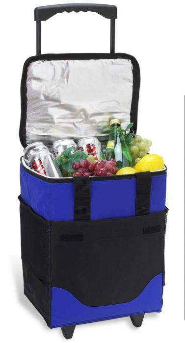 Picnic at Ascot Insulated 6 Bottle Wine Carrier on Wheels - Royal Blue
