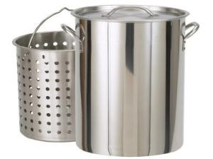 Bayou Classic 122 Quart Stainless Stockpot with Lid and Basket