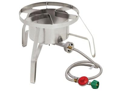 "Bayou Classic Stainless Steel High Pressure Propane Cooker, 14"" wide, 10 psi"