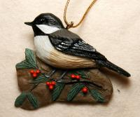 Songbird Essentials Chickadee with Holly Ornament