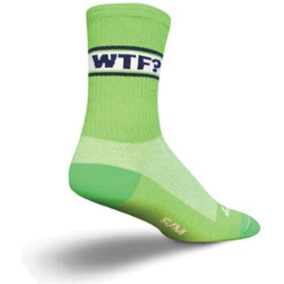 """Sockguy WTF? 6"""" Crew Socks, Green, L/XL"""
